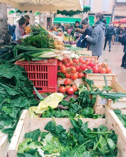 greens at the Aix market